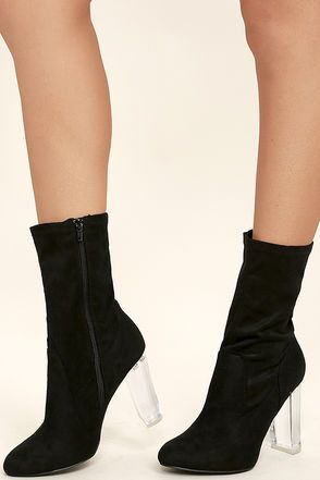 b2a4c26263ab Pop the champagne because the Krystal Black Suede Lucite Mid-Calf Boots are  something to celebrate! Vegan suede shapes these ultra-trendy mid-calf  booties ...