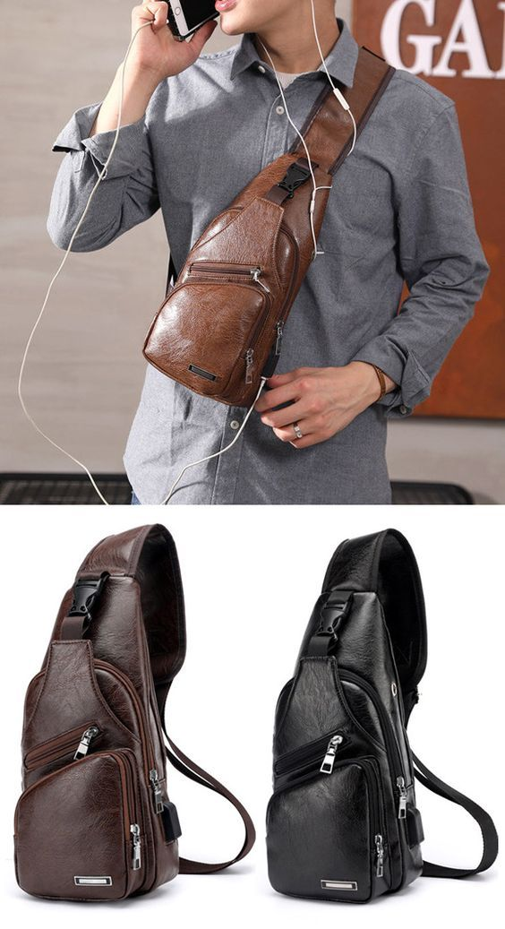 c869c34b938b Men Large Size Outdoor USB Charging Port Chest Bag Travel Daypack ...