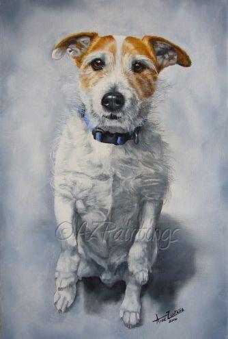 Woody Jack Russell Terrier Oil Portrait By Artist Anne