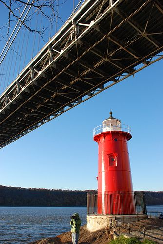 the little red lighthouse at the bottom of the george washing bridge rh pinterest co uk