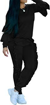 f057bb002f14 Speedle Womens Casual Long Sleeve 2 Pieces Outfits High Waist Pant Romper  Jumpsuit For Ladies Tracksuit Sets Black S at Amazon Women's Clothing store: