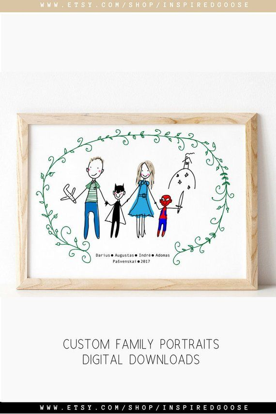 Custom Family Portrait 7th Anniversary Gift Ilration Wedding