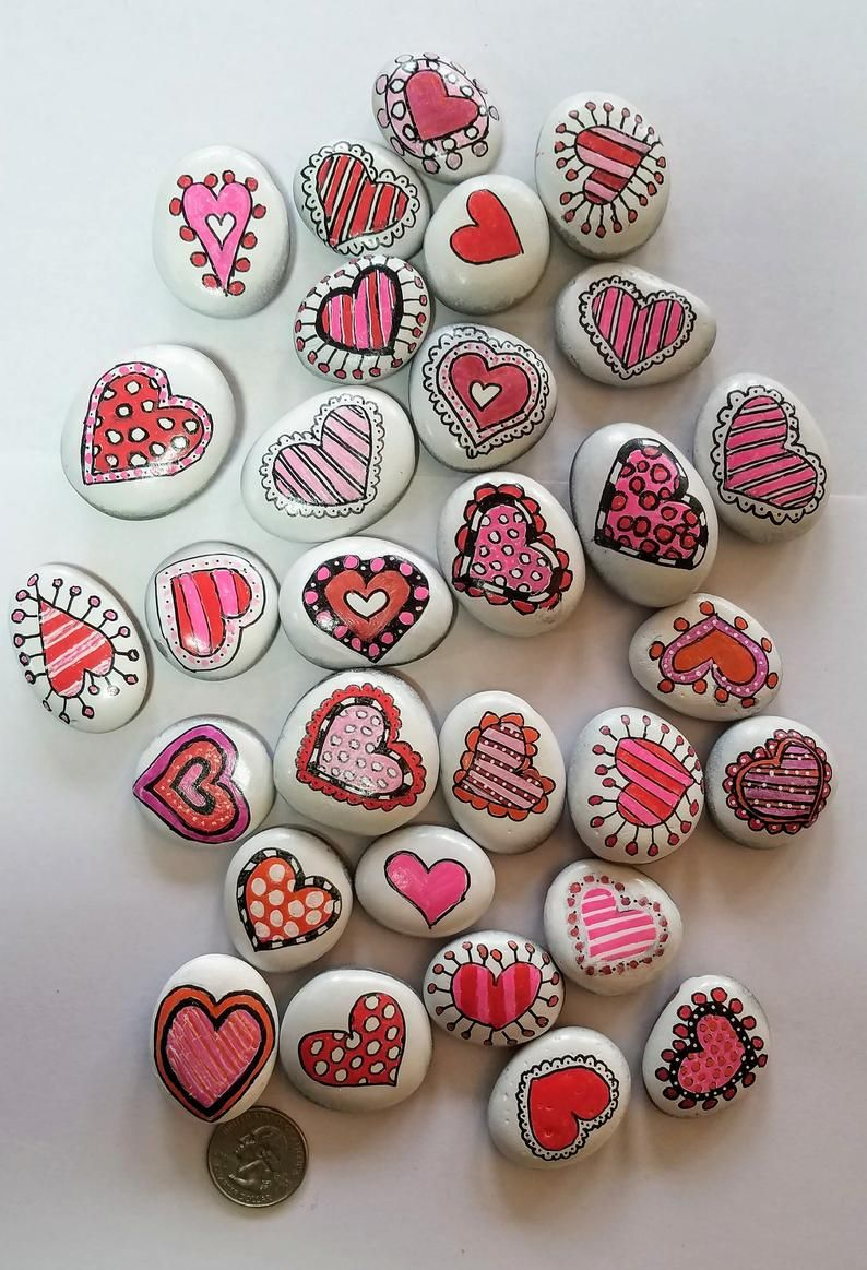 Small Decorative Heart Rocks | Hand painted Refrig