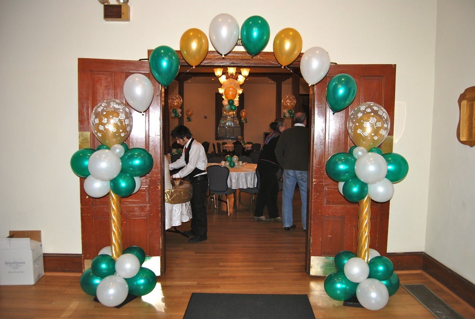 Party hall decoration with balloons catherine 39 s 50th for Room decoration ideas for 50th birthday