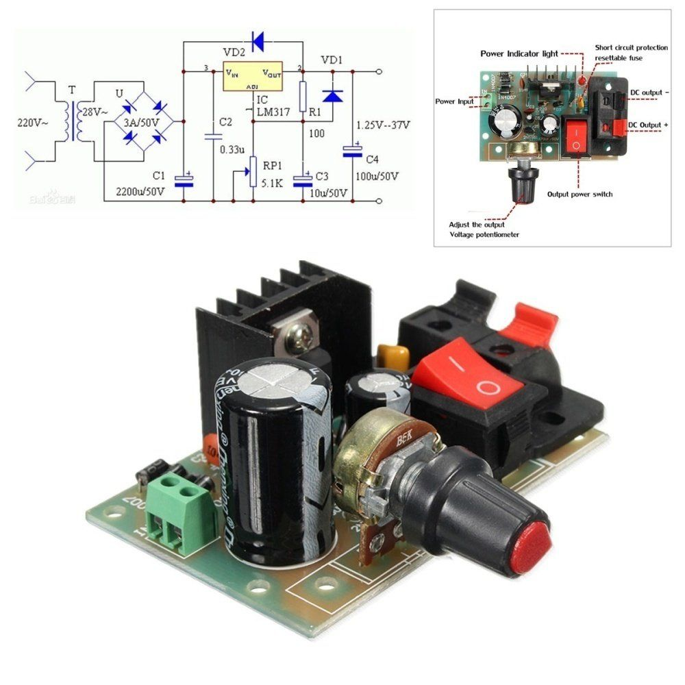 1a Lm317 Adjustable Voltage Regulator Power Supply Module Switch W Variable Circuit Ac Dc Input