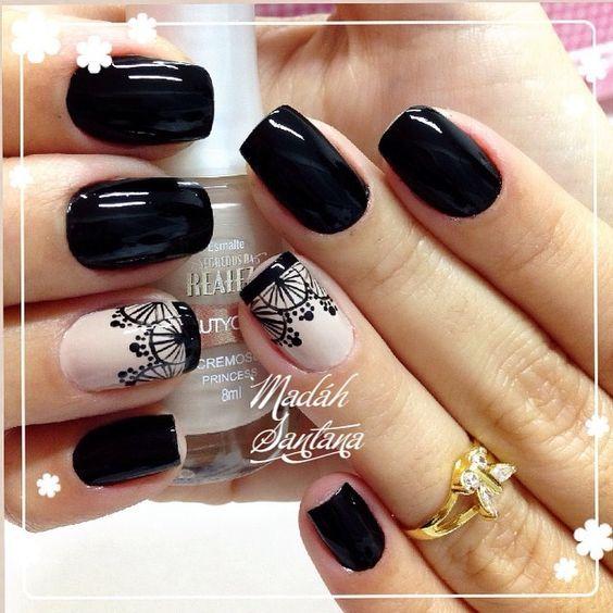Uñas Decoradas En Color Negro Uñas Nails Nail Art Y Nail Designs