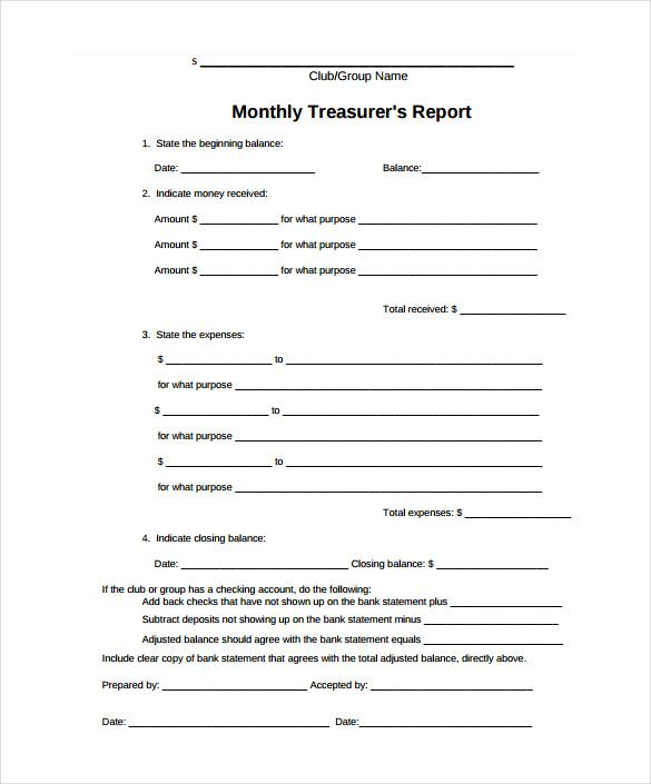 Treasurer Report Template 10 Free Sample Example