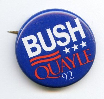 """Vintage 1992 """"Bush Quayle"""" Litho Tin Political Campaign Button 1-3/8"""" Diam $6.95"""