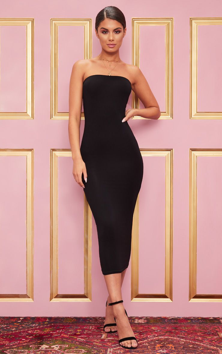 c4fb72dfdc Basic Black Bandeau Midaxi Dress. Shop the range of dresses today at  PrettyLittleThing. Express delivery available. Order now