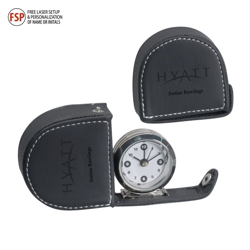High-polished chrome finish alarm clock attached to a snap closure case with top-stitching and contrast texture. Laserable soft faux leather.    Starts at $12.20