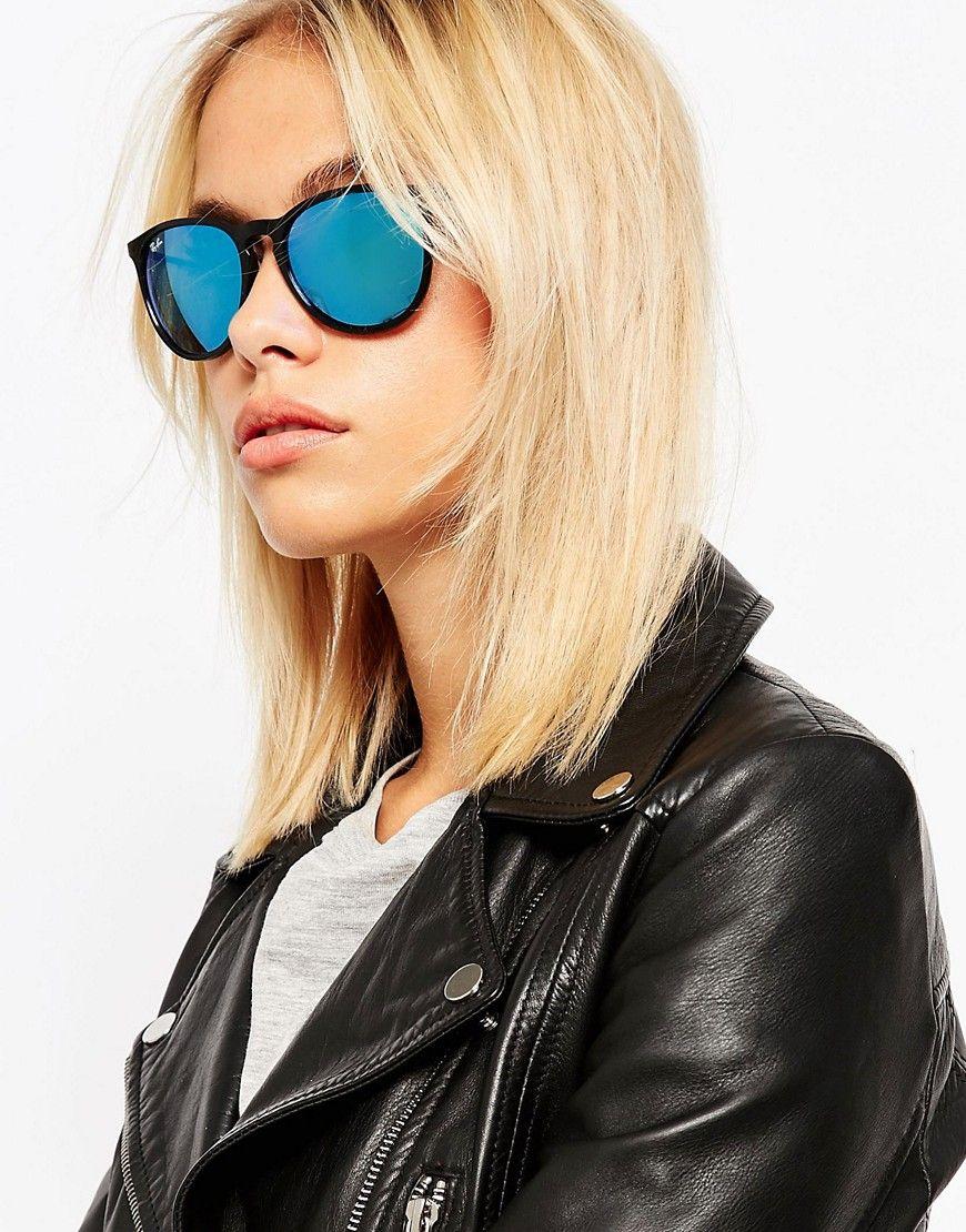 05321a8da4dda Image 3 of Ray-Ban Round Erika Sunglasses with Blue Flash Lens