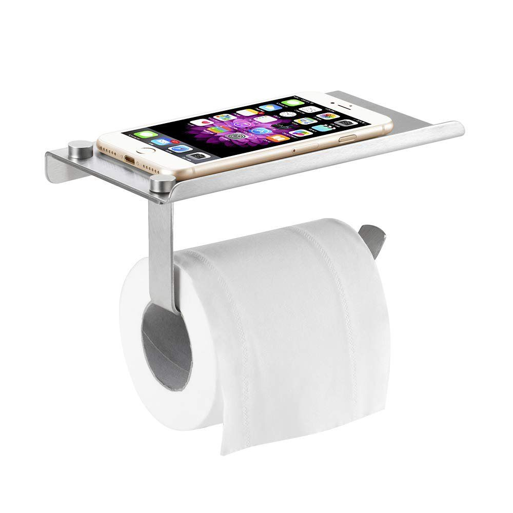Toilet Paper Holder With Phone Shelf Tissue Stand Storage Wall Mounted For Bathroom Toilet Walmart Com In 2021 Diy Toilet Paper Holder Toilet Paper Holder Bathroom Toilets