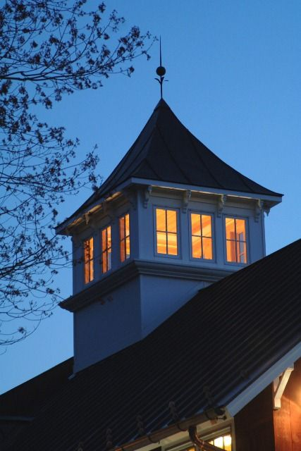 One Story Hip Roof Addition Ideas To Two Story Farmhouse: 1 Story Medical Building Converted To 2 Story Barn For Office Space. Views Of Cupola At Night