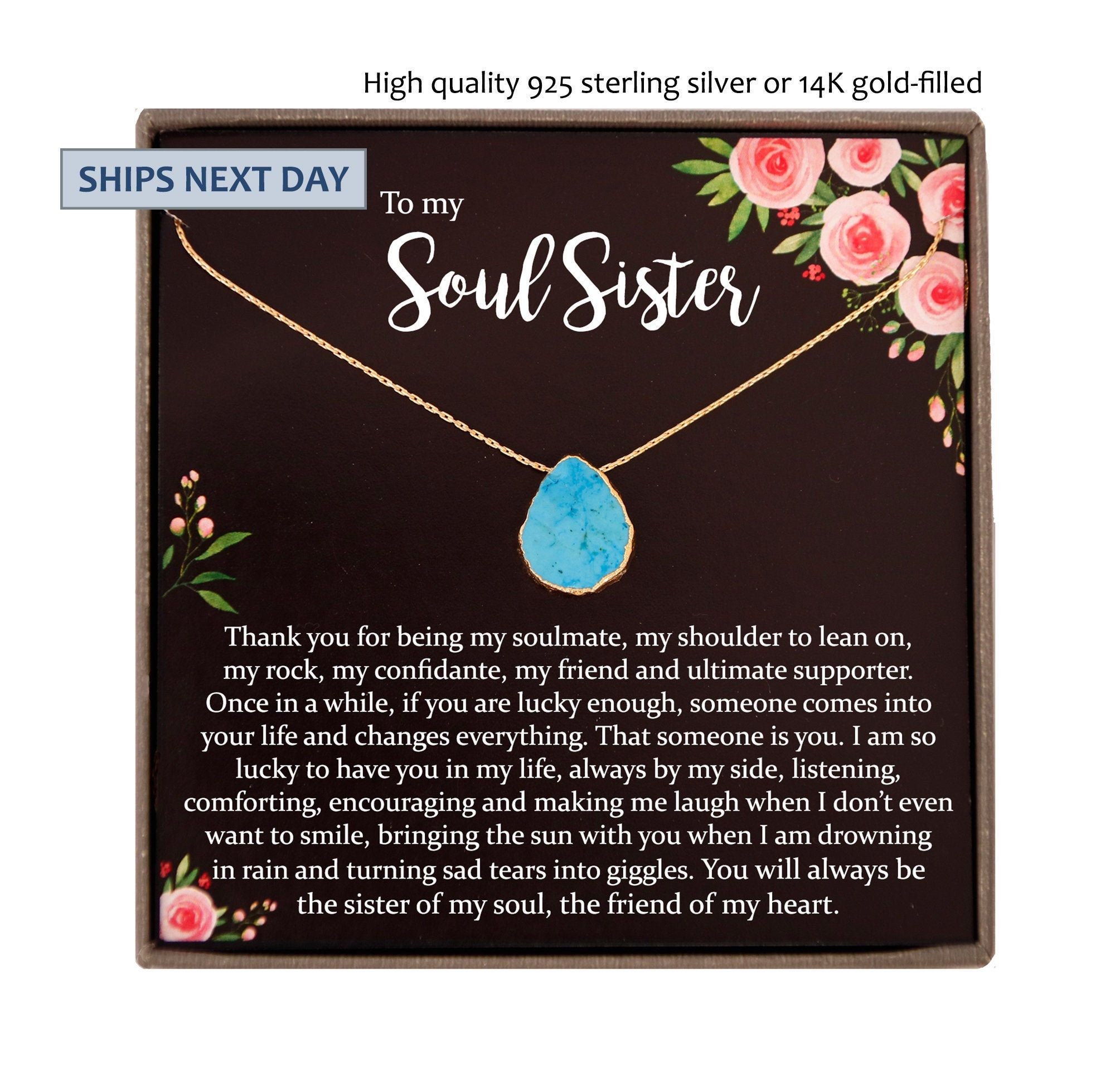 Soul sister necklace unbiological sister soul sister gift