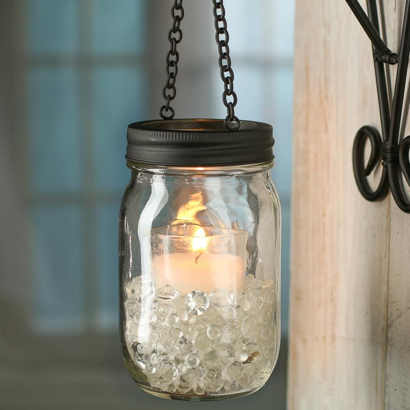 14 Light Diy Mason Jar Chandelier Rustic Cedar Rustic Wood: Black Candle Lantern Mason Jar Lid