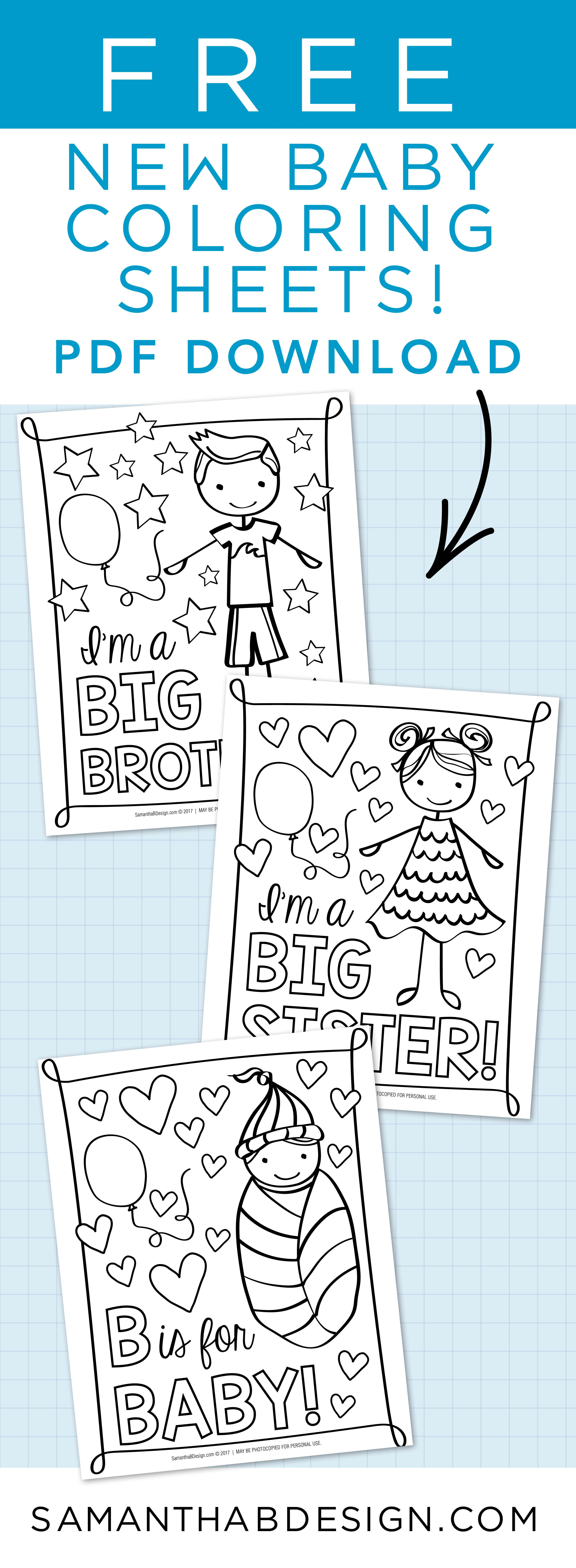 Free PDF Coloring sheets for big sisterbig brother Adorable