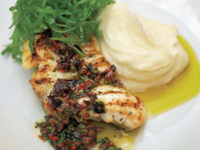 Grilled or Roasted Monkfish with Black Olive Sauce and Lemon Mash   Cookstr.com