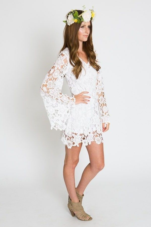 Crochet Lace Short Boho Beach Wedding Dress White Rustic Vintage