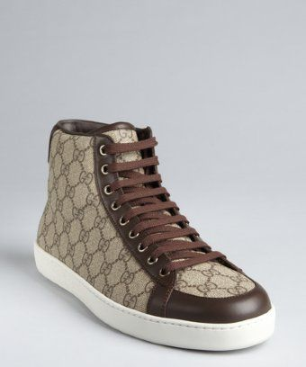 a87c6248164 Gucci  beige and brown GG coated canvas high top sneakers