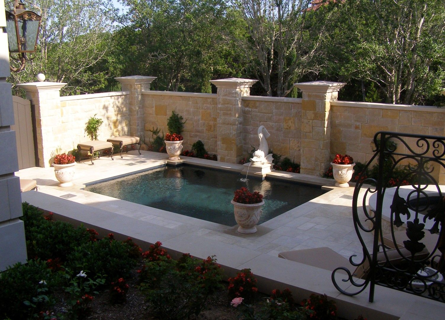 backyard oasis with fountain soaking pool u0026 tub for a french