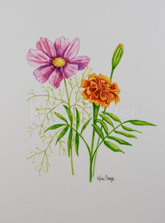 Cosmos And Marigold October Birthday Flower Original Watercolor