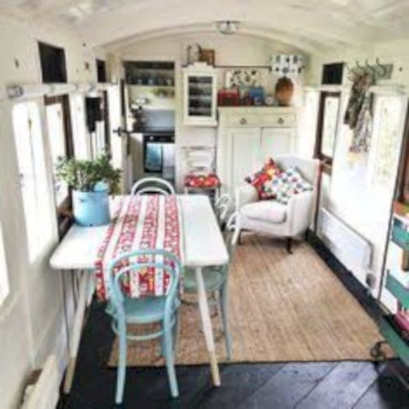 28 Awesome Rv Makeovers With Farmhouse Style Decoration Tiny House Living House Interior Wainscoting Styles