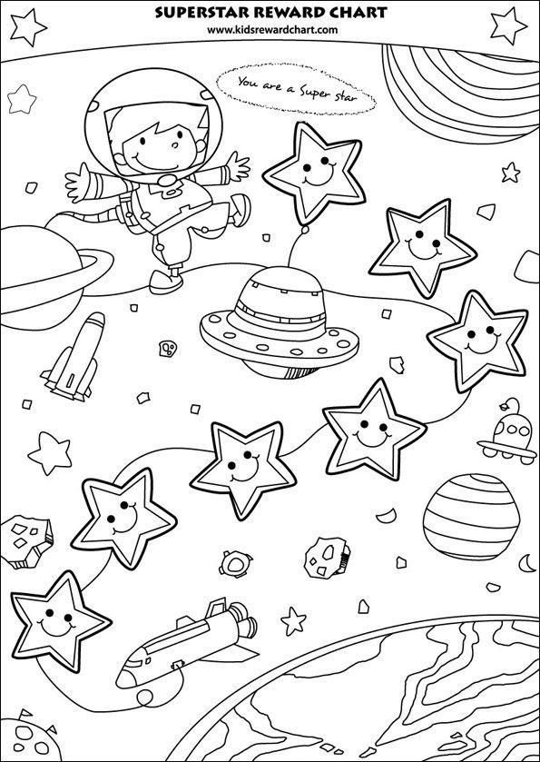 Kleurplaten Ruimtevaart.Ruimte Ruimtevaart Tekening Kleurplaat Coloring Page Reward