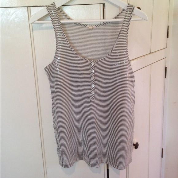J. Crew sequin tank Gray and white stripe with sequin overlay. J. Crew Tops Tank Tops