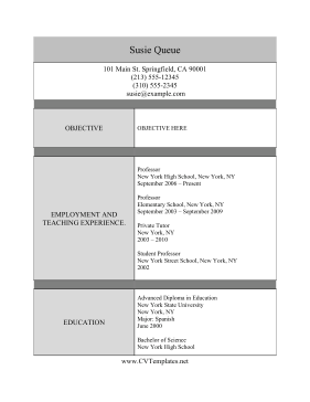 This Professor Cv Template Is Free To Print On LetterSized Paper