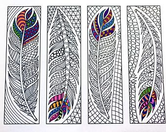 91 Printable Feathers Coloring Page Bookmarks For Adults Pdf Jpg Instant