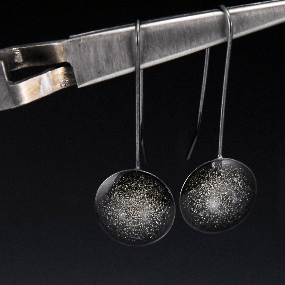 Outer Space Diamond: Cosmos Oxidized Silver And Resin Earrings By Norsola On