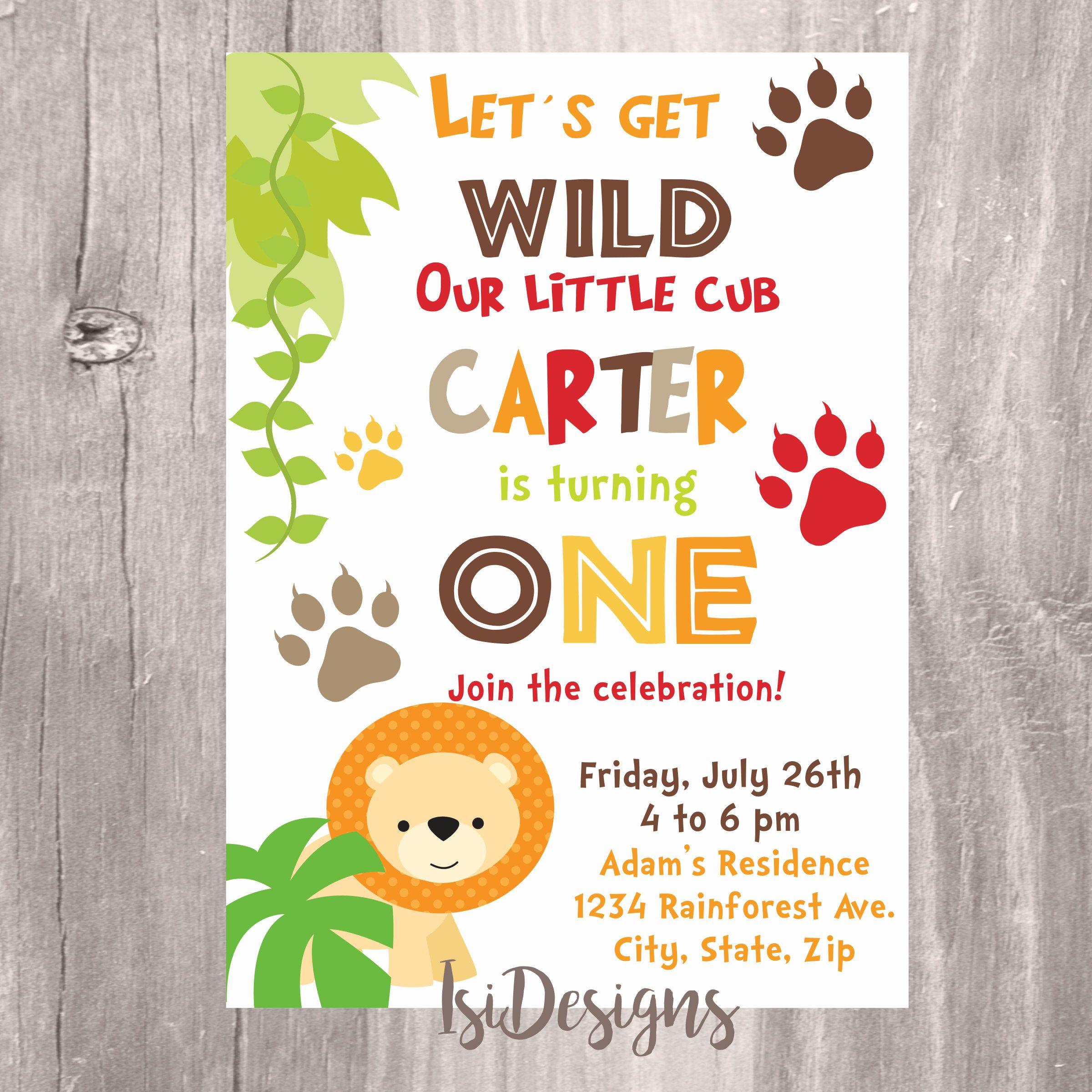 Jungle Safari Birthday Invitation, Safari Birthday Printable Invite ...