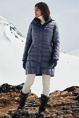 Women's Heathered Fleece-lined Down Coat | Products I Love | Pinterest