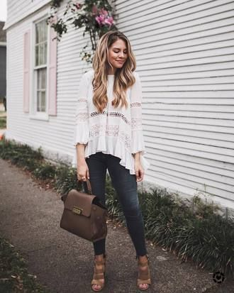 4ba6669abe blouse tumblr white blouse top white top denim jeans skinny jeans bag brown  bag sandals sandal heels high heel sandals spring outfits