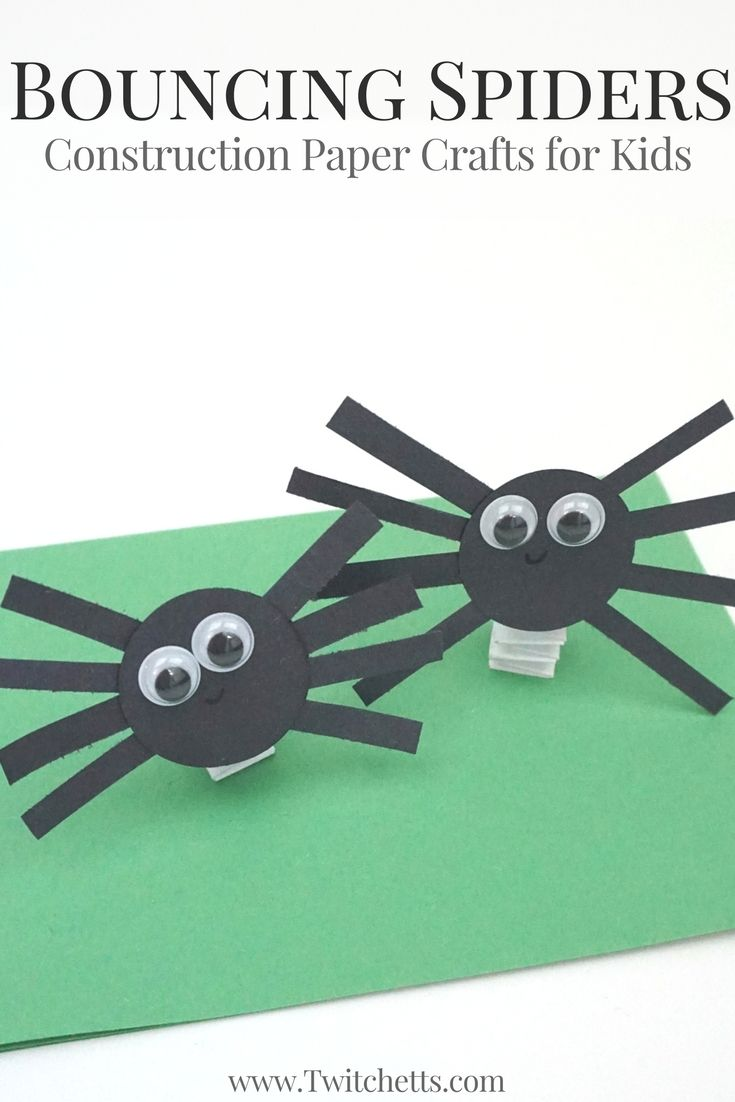 bouncing construction paper spiders halloween craft for kids