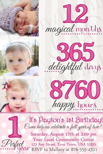 1 Perfect Year Birthday Invitation MySunWillShine Invitations - invitation card for ist birthday