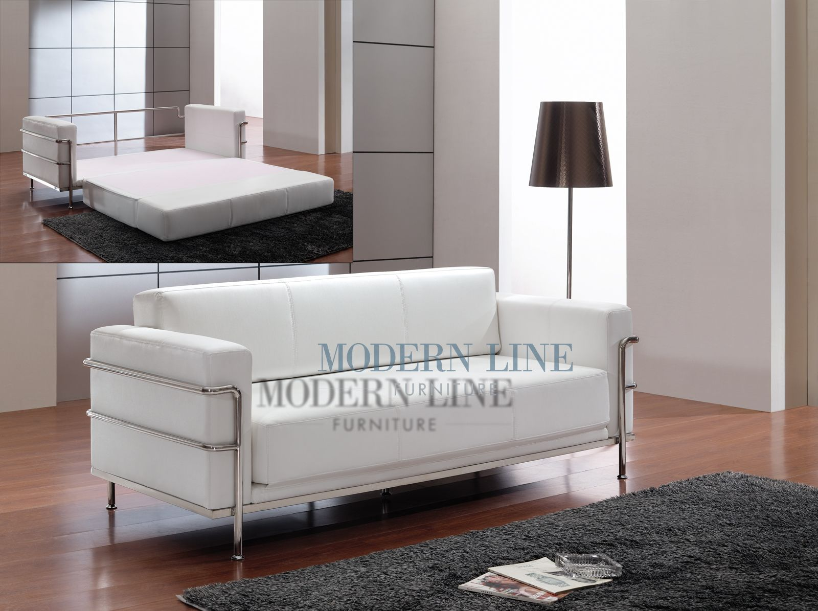 $695 Corbusie Style White Leather (also Comes In Black)   Modernline  Furniture   Converts