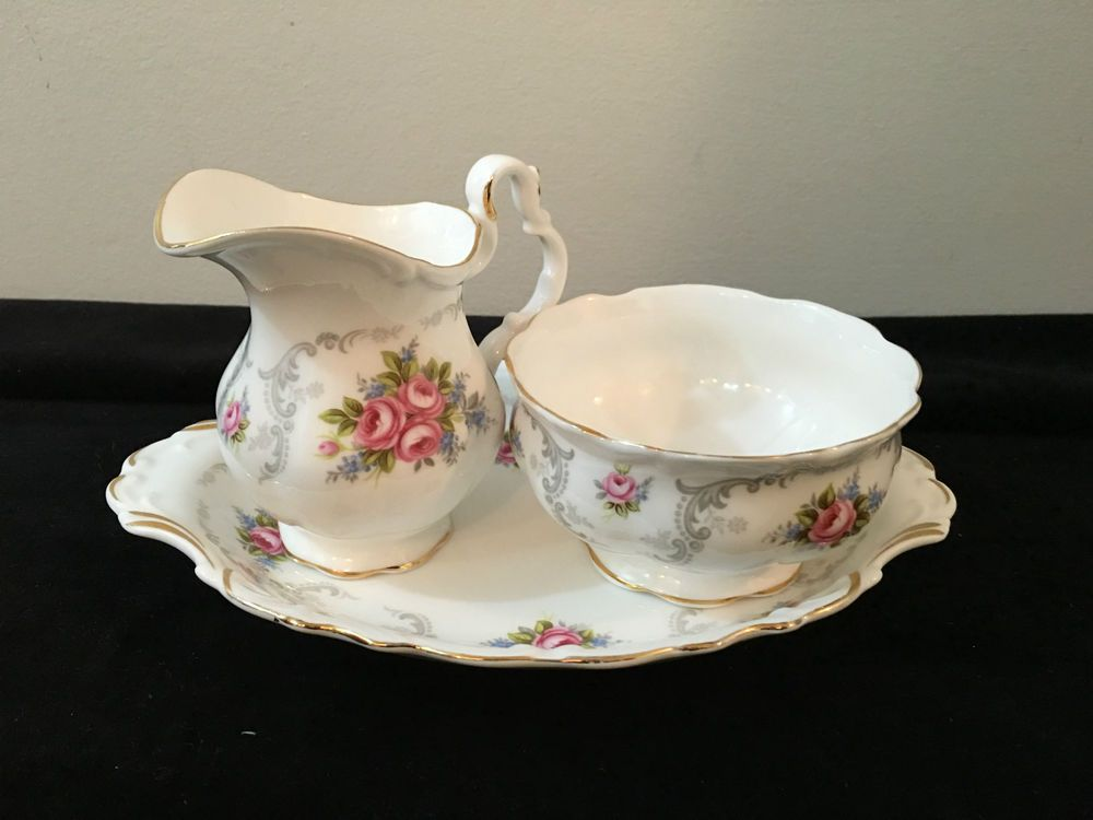 ROYAL ALBERT TRANQUILITY CREAM & SUGAR + TRAY