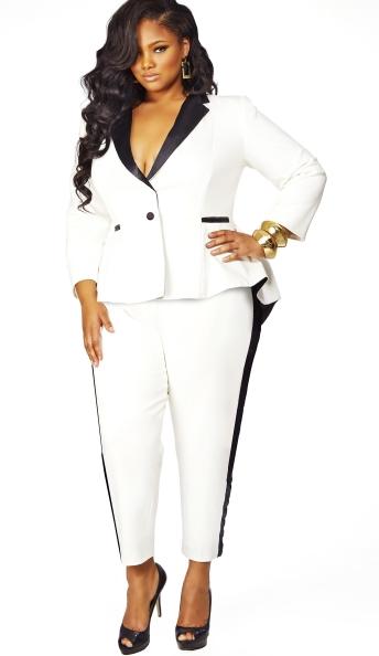 e8499b0de1 Black and White suit. Plus Size Holiday 2013 by Monif C - The Grace Tuxedo