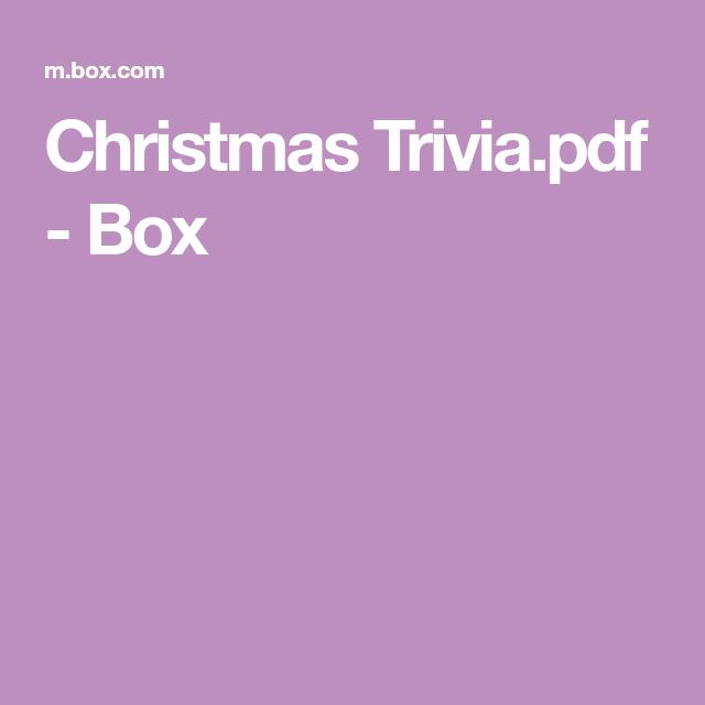 Christmas Trivia Pdf.Christmas Trivia Pdf Box Games Christmas Trivia Xmas