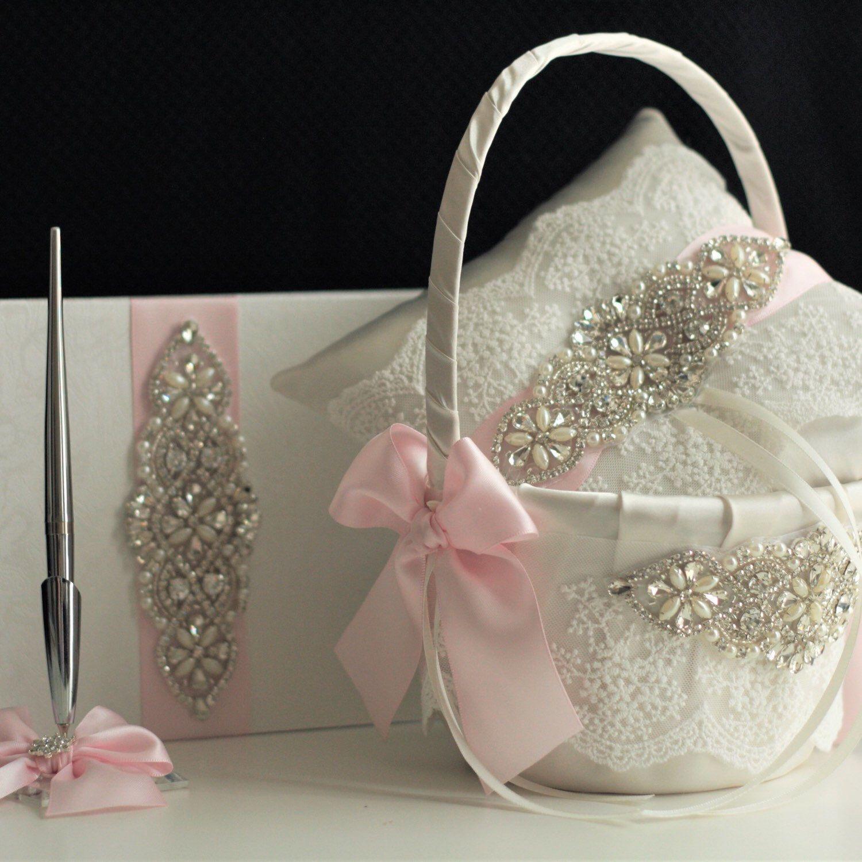 Blush Flower Girl Basket Blush Ring Bearer Pillow Blush Pink