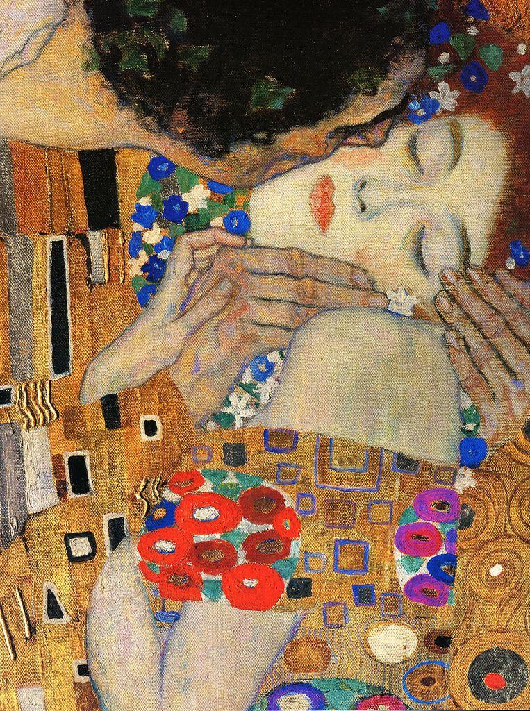 Gustav Klimt, The Kiss (detail), 1907-08 Oil and gold leaf on canvas ...