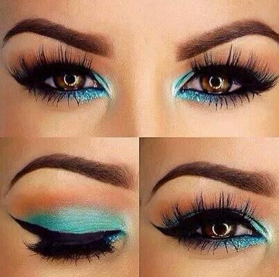Blue make-up#brown eyes#beauty trends to follow*