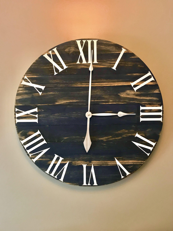 Large Navy Rustic Wood Clock Pallet Clock Reclaimed Wood Clock Large Wall Clock Unique Wall Clock Farmhouse Cloc Rustic Wood Clocks Wood Clocks Clock