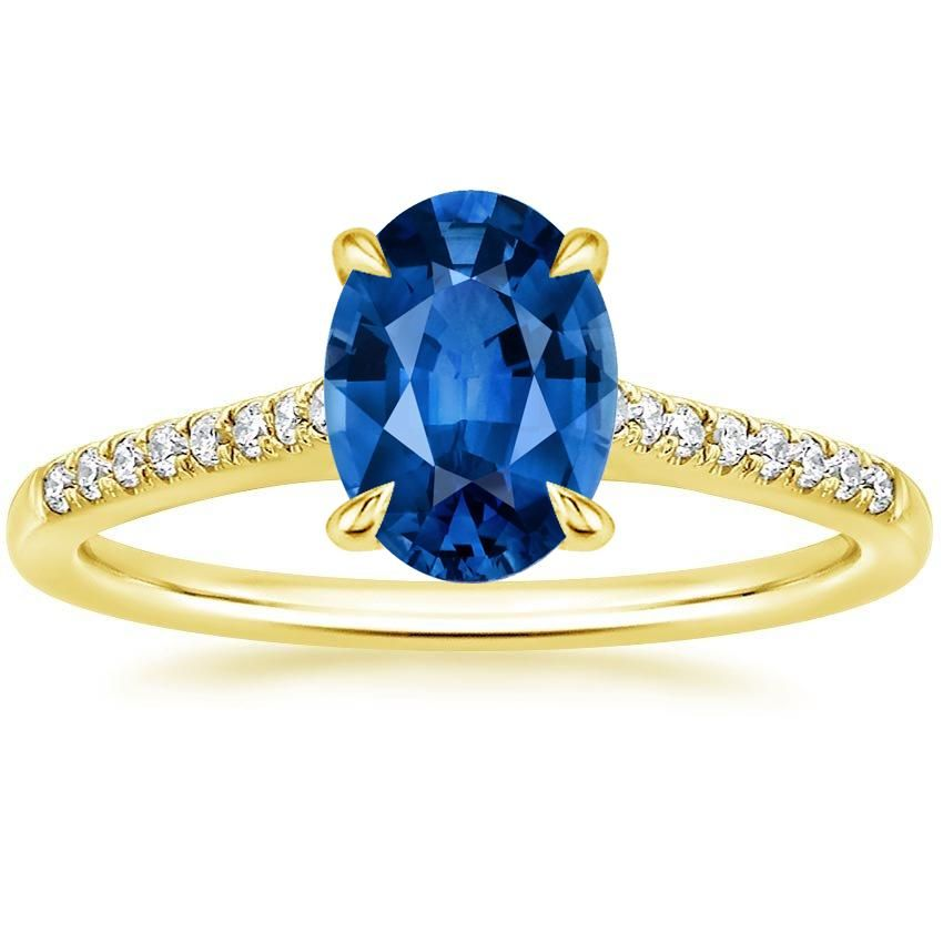 Blue Sapphire Lissome Engagement Ring - 18K Yellow Gold