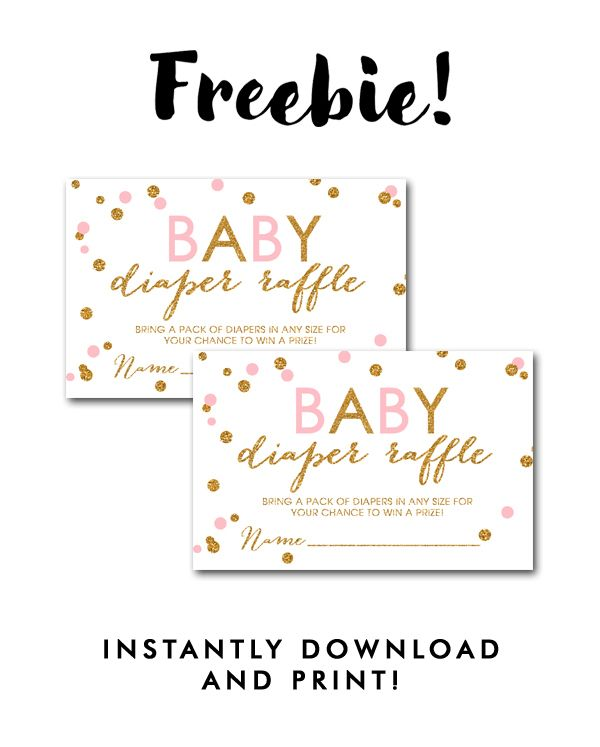 DIY Free Baby Shower Printable White Blush Pink Gold Glitter - free downloadable raffle ticket templates