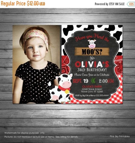 SALE Cow Birthday Invitation, Printable File, Moo Invitation, Red