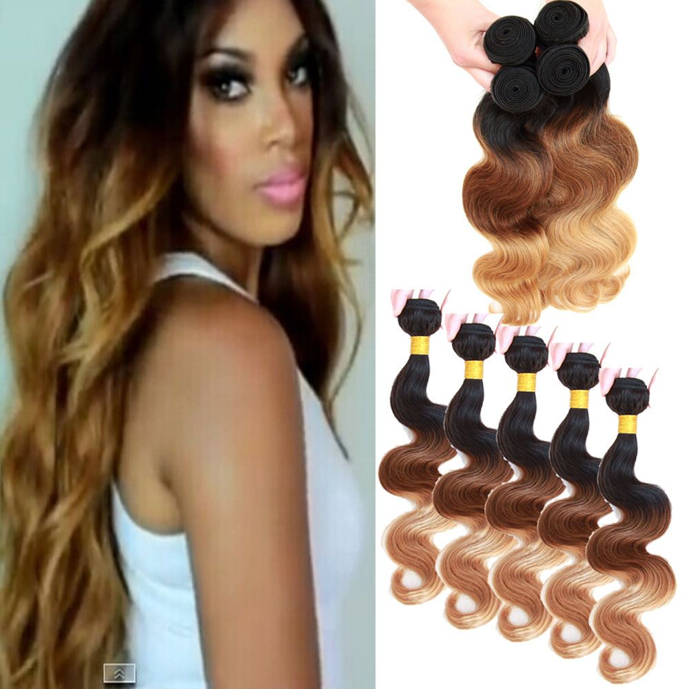 Hair Wholesale10pcs Human Hair Extensions Brazilian Ombre 1b3327