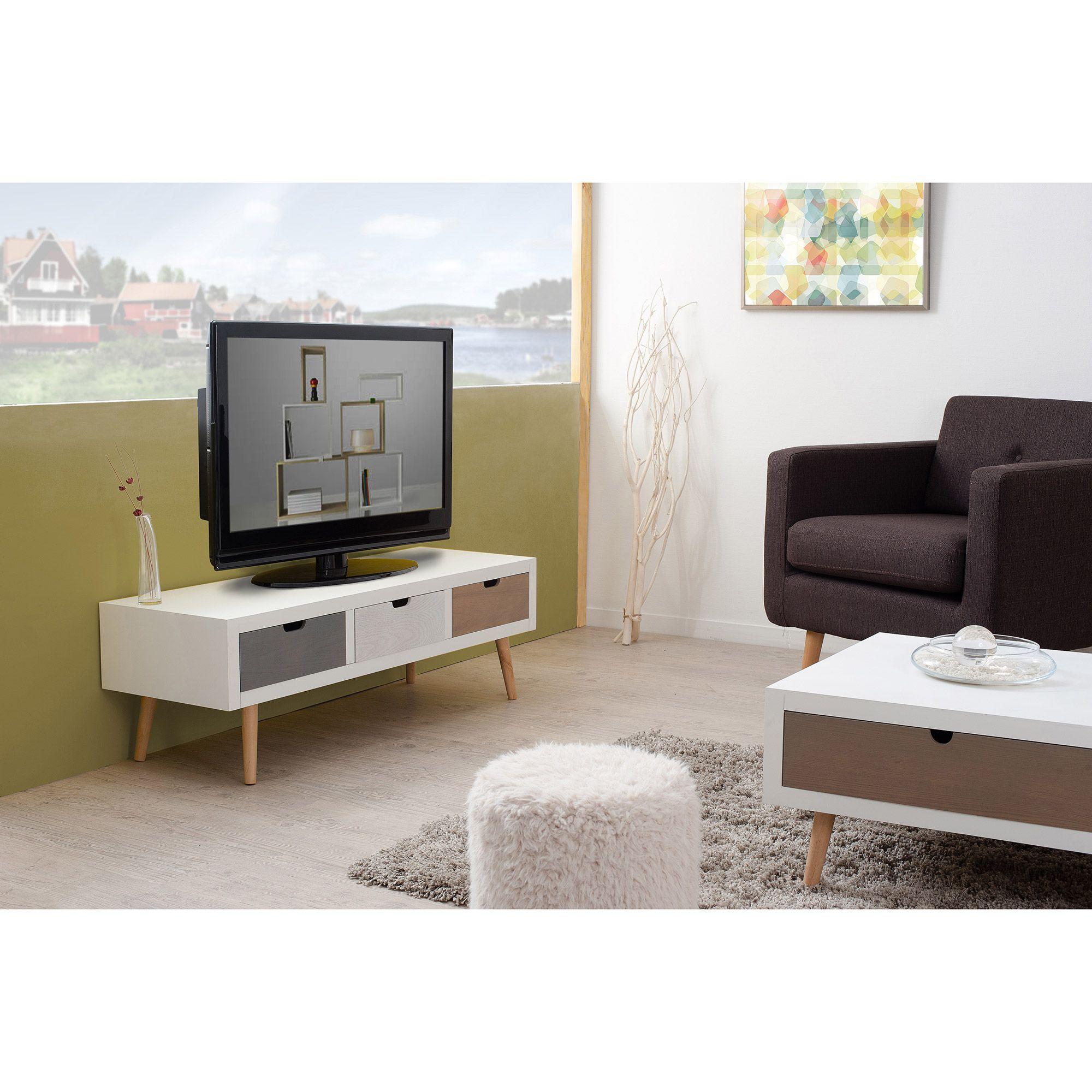 Meuble Tv Bas En Bois 3 Tiroirs L120cm Evan Caisses En Bois  # Meubles Tv Ecran Plat