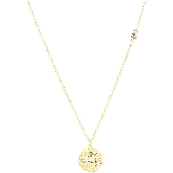 GUESS Cutout Flower Ball Pendant Necklace ($22) ❤ liked on Polyvore featuring jewelry, necklaces, flower charms, pendant chain necklace, charm pendant necklace, lobster claw charms and ball necklace